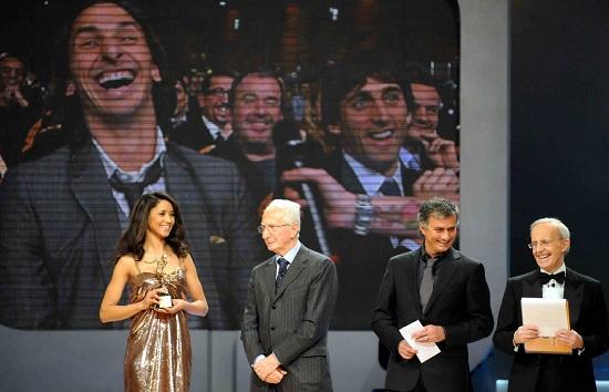 Zlatan Ibrahimovic e José Mourinho agli Oscar del Calcio 2010 (Infophoto)