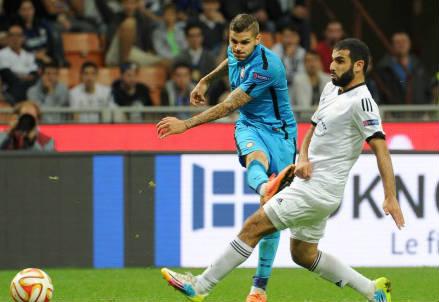 Mauro Icardi in gol contro il Qarabag (Infophoto)