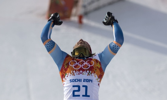 Kjetil Jansrud, oro olimpico in super-G e vincitore ieri (Infophoto)
