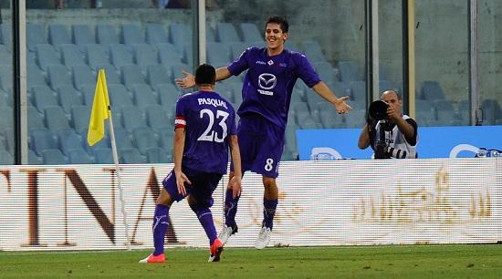 Pasqual e Jovetic nella scorsa stagione (Infophoto)
