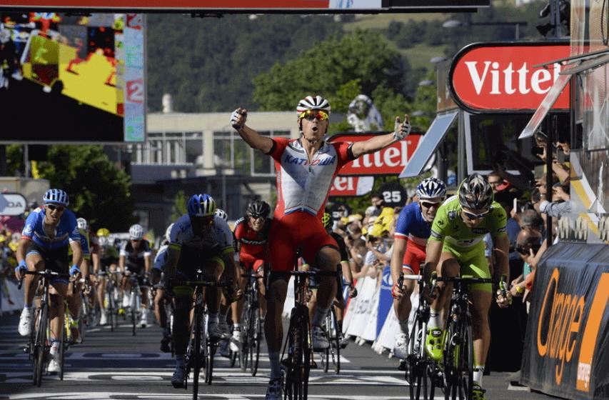 Alexander Kristoff festeggia al Tour 2014 (da Facebook)