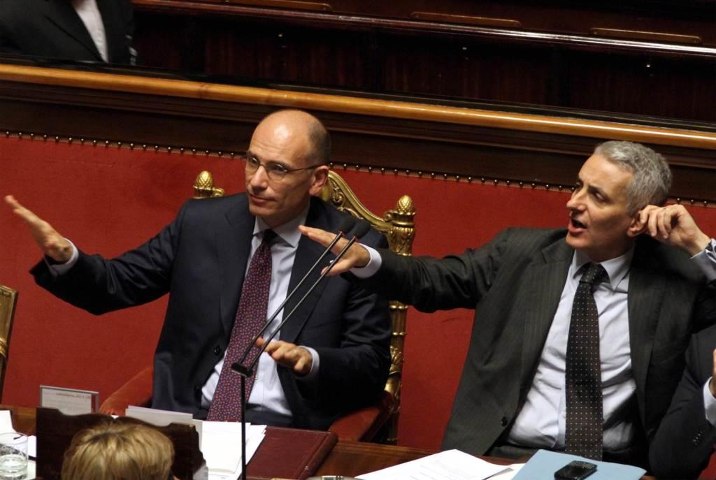 Enrico Letta e Gaetano Quagliariello (Infophoto)