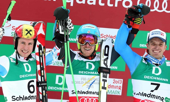 Ted Ligety sul podio mondiale con Hirscher e Moelgg (Infophoto)