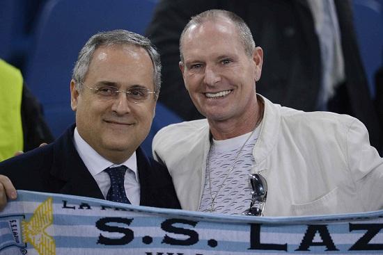 Paul Gascoigne con Claudio Lotito (Infophoto)