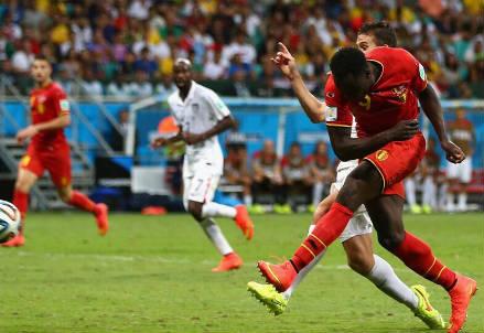 Il sinistro di Romelu Lukaku per il momentaneo 2-0 del Belgio (dal profilo Twitter ufficiale @FIFAWorldCup)