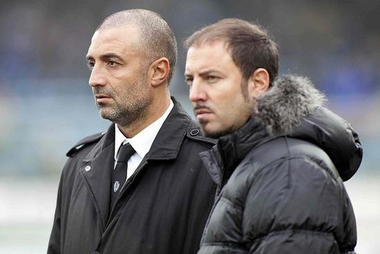 Da sinistra Maurizio Marin, 46 anni, e Igor Campedelli, 38, rispettivamente direttore sportivo e presidente del Cesena (INFOPHOTO)