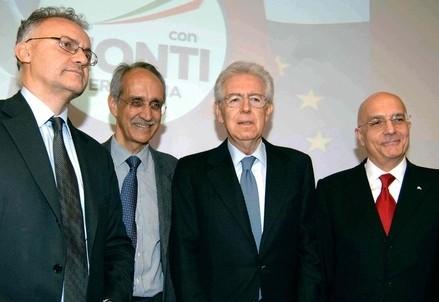 Mario Mauro, Pietro Ichino, Mario Monti, Gabriele Albertini (InfoPhoto)