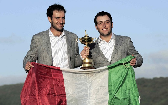 I fratelli Molinari alla scorsa Ryder Cup (Infophoto)