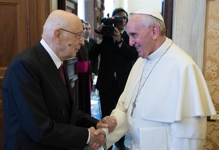 Giorgio Napolitano e Papa Francesco (Quirinale.it)