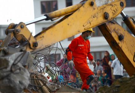 Il terremoto nel Nepal (Infophoto)