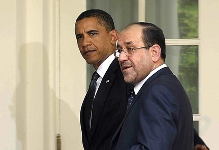 L'ex premier iracheno Al-Maliki con Barack Obama (Infophoto)