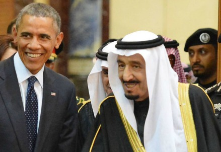Obama con re Salman dell'Arabia Saudita (Infophoto)