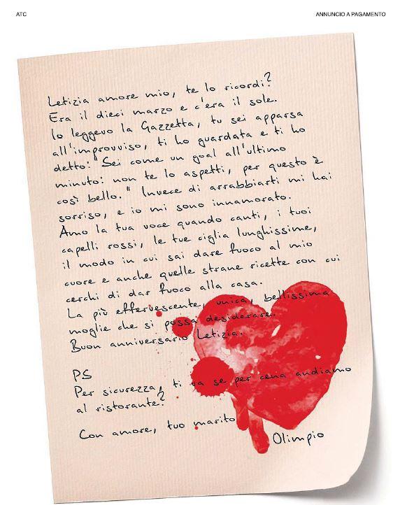 Anniversario Di Matrimonio Lettera.Lettera D Amore Compra Una Pagina Di Pubblicita Per L