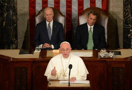 Papa Francesco ieri al Congresso (Infophoto)