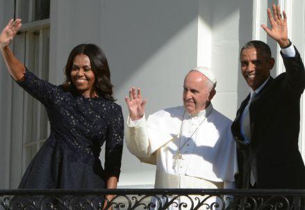 Papa Francesco alla Casa Bianca con Michelle e Barack Obama (Infophoto)