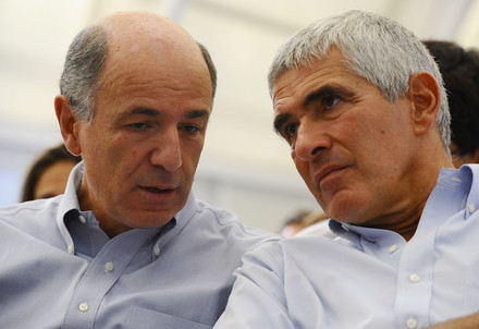 Corrado Passera insieme a Pierferdinando Casini, leader dell'Udc (InfoPhoto)