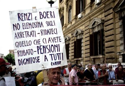 Una protesta dei pensionati