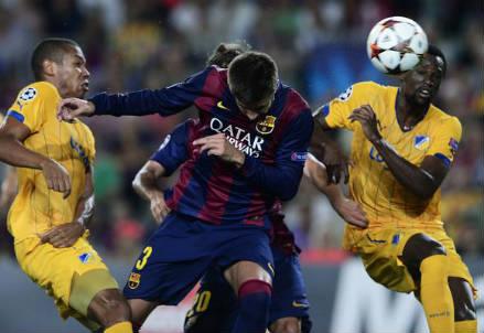 L'incornata vincente di Gerard Piqué, 27 anni (dall'account Twitter ufficiale @ChampionsLeague)