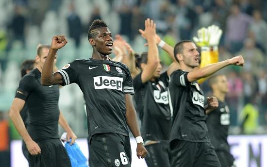 Paul Pogba, 19 anni, centrocampista della Juventus, esulta al termine delle gara contro il Bologna (INFOPHOTO)
