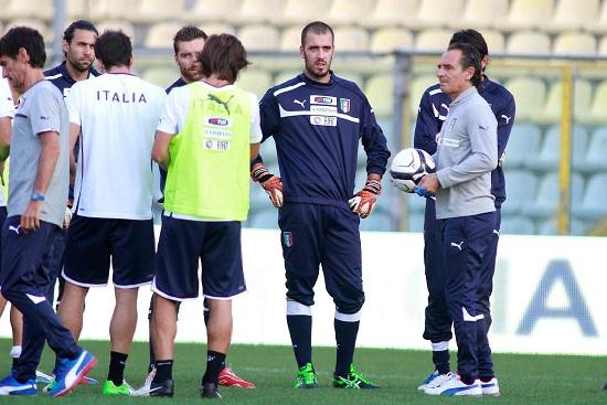Un allenamento dell'Italia (Infophoto)