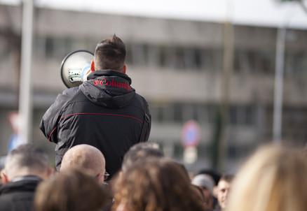 Una protesta del Movimento dei Forconi (Infophoto)