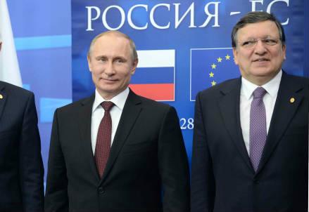 Vladimir Putin e Jose Manuel Barroso al summit Ue-Russia