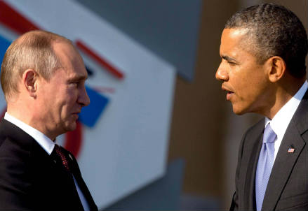 Vladimir Putin (S) e Barack Obama (Infophoto)