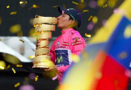 Nairo Quintana, 24 anni, vincitore del Giro d'Italia 2014 (dall'account Twitter ufficiale @giroditalia)