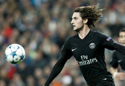 Il francese Adrien Rabiot, 20 anni, centrocampista del PSG (INFOPHOTO)
