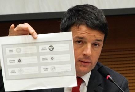 Matteo Renzi con in mano il fac-simile della nuova scheda elettorale secondo l'Italicum (Infophoto)