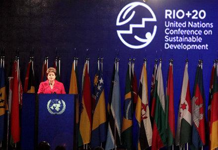 Il presidente del Brasile, Dilma Rousseff, parla durante la Conferenza - Infophoto