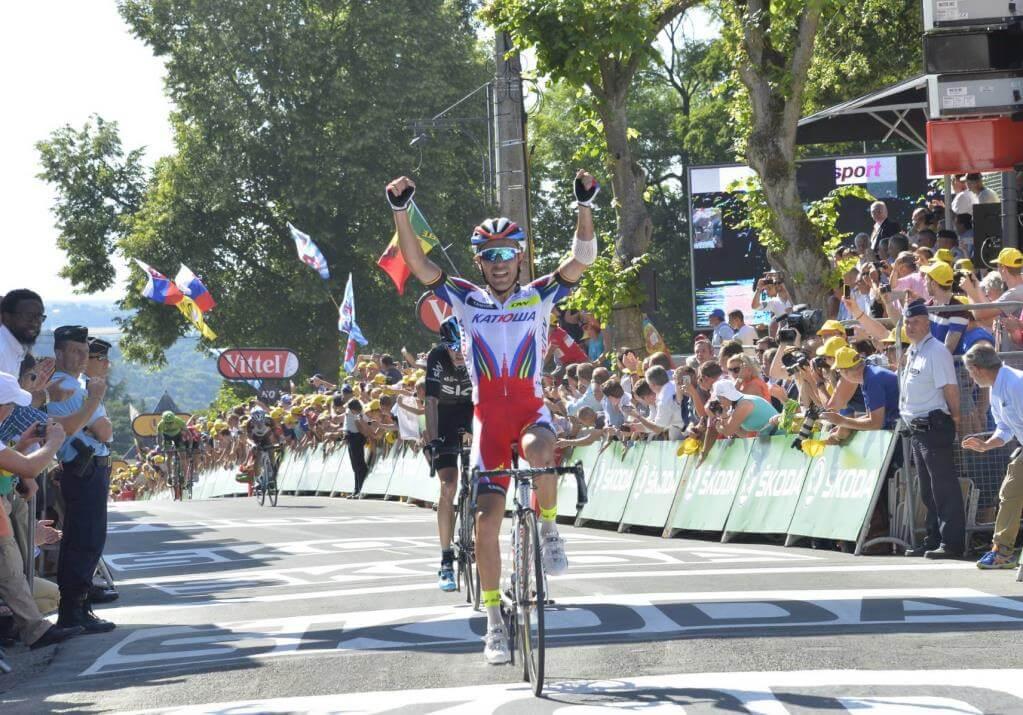 Joaquim Rodriguez sul traguardo di Huy (da Facebook Le Tour de France)