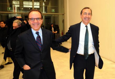 Stefano Parisi e Giuseppe Sala (Infophoto)