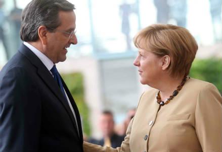 Antonis Samaras e Angela Merkel