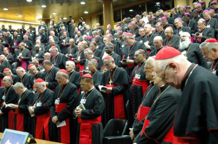 I vescovi riuniti al Sinodo (Infophoto)