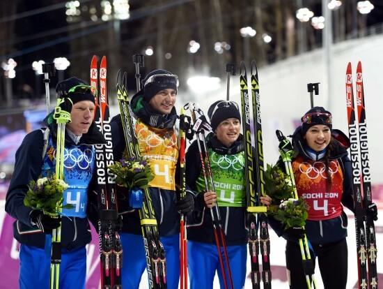 La staffetta mista medaglia di bronzo a Sochi (Infophoto)