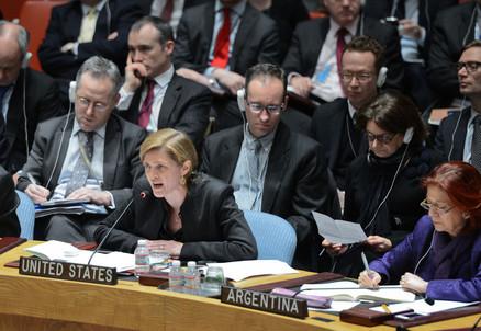 Samantha Power, rappresentante Usa nelle Nazioni Unite, parla durante l'ultimo Consiglio di Sicurezza (Infophoto)