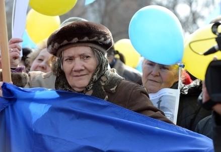 Manifestazione in Ucraina (Infophoto)