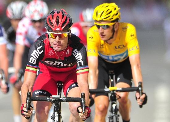 Wiggins con Evans: oggi il margine tra i due è cresciuto (Infophoto)