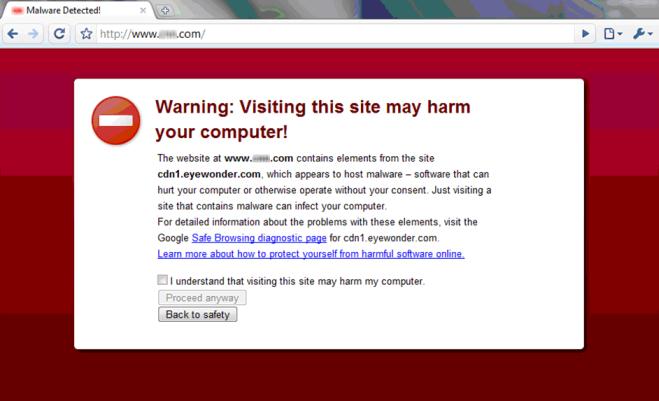 L'avviso di malware