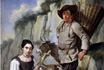 Filatrice e contadino con gerla, dipinto di Giacomo Ceruti