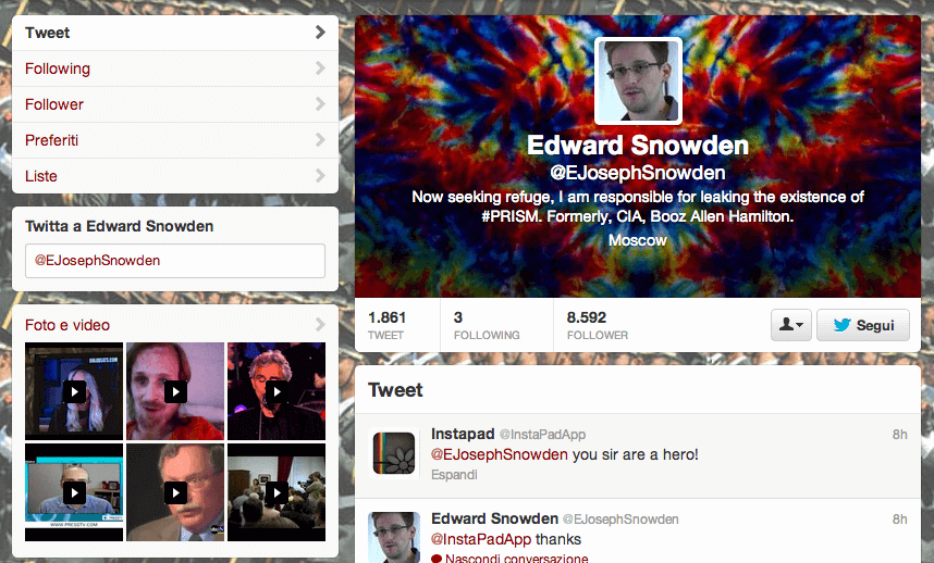 Profilo fake su Twitter di Edward Snowden