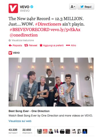 One Direction record su Vevo