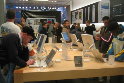 Customers in the Apple store
