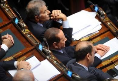 Silvio Berlusconi tra i banchi del Pdl alla Camera (Imagoeconomica)