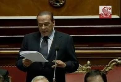 Silvio Berlusconi interviene al Senato per la verifica della maggioranza