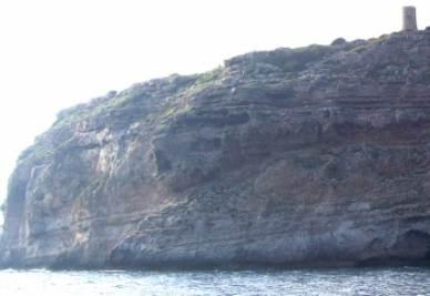 Margine di piattaforma carbonatica in sezione su una falesia dell'isola di Maiorca (Isole Baleari)