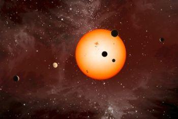 Rappresentazione artistica del sistema planetario multiplo Kepler-11 (credit: Nature/Nasa/Ames/JPL-Caltech/T. Pyle)