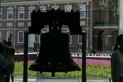 The Liberty Bell in front of Independence Hall