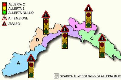 La mappa della situazione idrologica attuale della Liguria: livello di allerta rosso